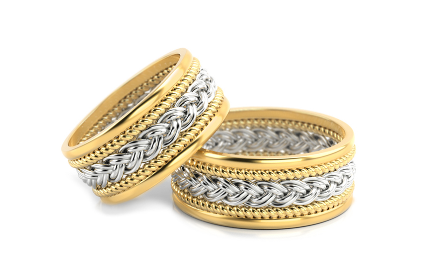 Braided wedding rings width 8.5 mm - STOB007-8