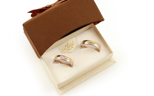 Wedding rings two tone with stones width 5 to 6 mm - STOB259V