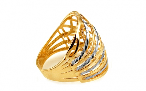 Two-tone gold celtic ring with engraving - IZ10745