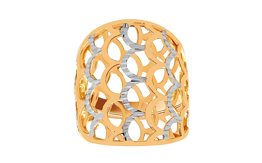 Two-tone gold celtic ring with engraving - IZ10746