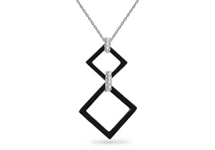 Silver chain with Black squares Pendant