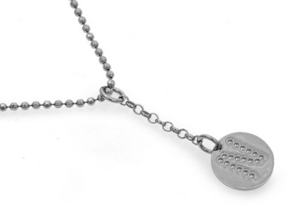 Rhodium plated 925Sterling Silver chain with Alphabet disc charm in sterling silver pendant letter N