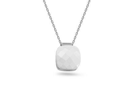 Women's silver plated Rhodium necklace with white stone