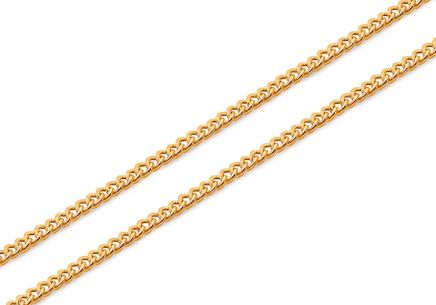 Gold beveled curb chain 1 mm