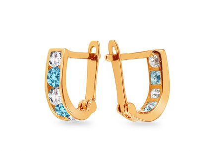Children's Gold Cubic Zirconia Earrings - IZ3385