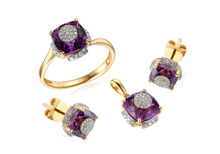 Gol Set with Brilliants and Amethysts