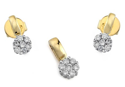 Gold set with diamonds