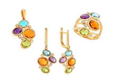 Gold Set with Diamonds and Gems