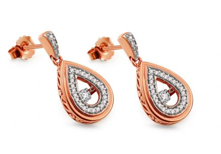 Rose Gold Earrings with diamonds 0.200 ct Dancing Diamonds