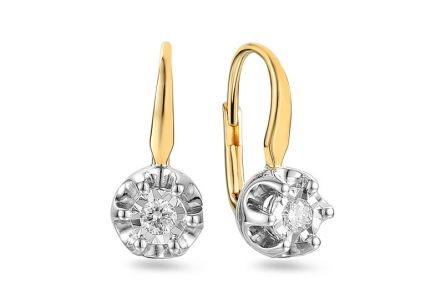 Gold earrings with 0.180 ct diamonds