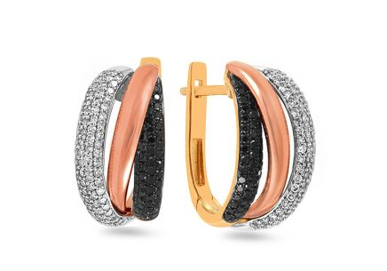 Gold Earrings with Black Diamonds