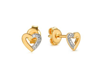 Gold heart stud earrings with diamonds 0.010 ct