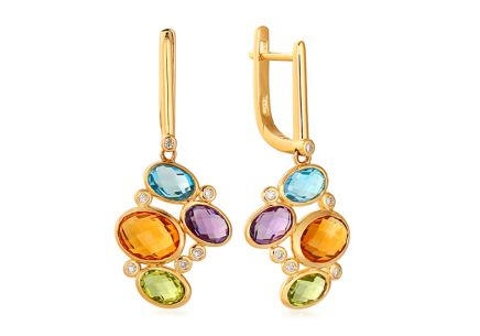 Gold Earrings with Diamonds and Gems