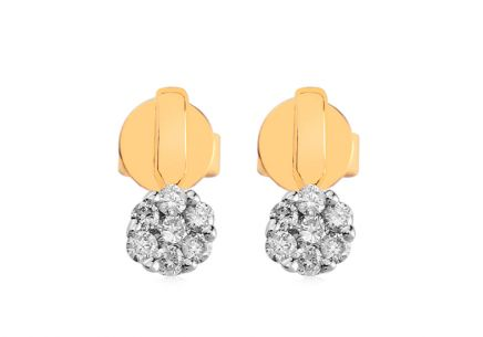 Two-Tone Gold Earrings with Diamonds 0.150 ct