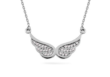 Gold brilliant angel wings necklace 0.120 ct