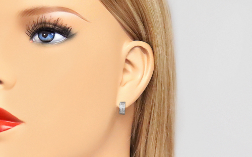 White gold earrings with zircons - IZ19013A