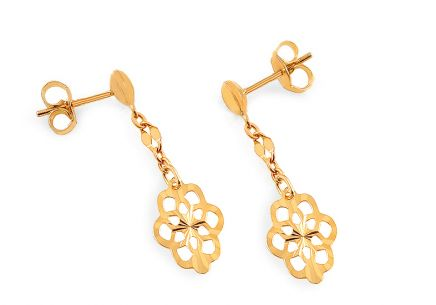 Girl's Gold Flower Earrings