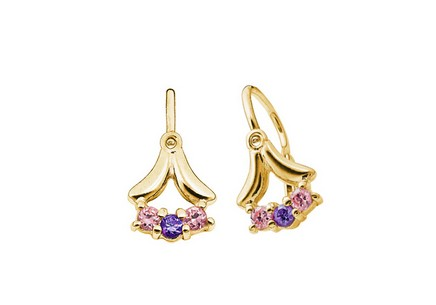 Girl's Gold Zircon Earrings