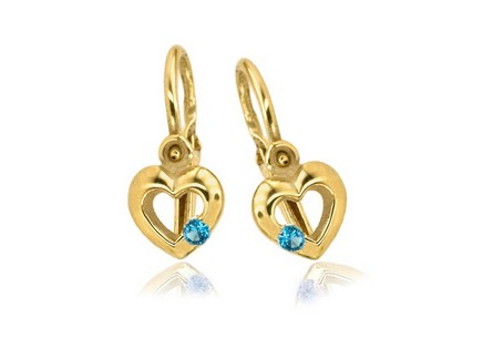 Gold Children's earrings with aquamarines