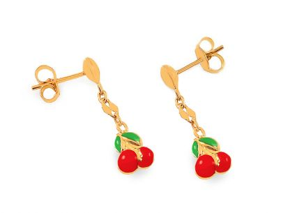 Gold girls stud earrings Cherries