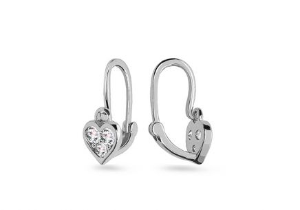 Earrings for newborns made of white gold Hearts with zircons