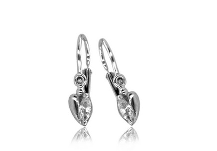 Christening earrings with zircon