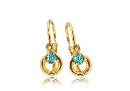 Gold Earrings for baby girls with Turquoise