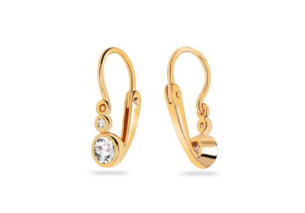 Gold earrings with zircons for babies