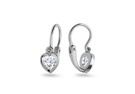 White gold earrings for baby Heart with zircon