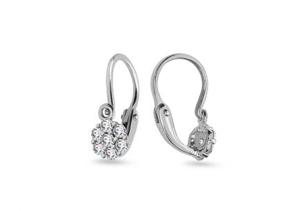 White gold earrings for newborn babyFlowers with zircons