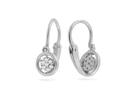 White gold childrens earrings rounds with zircons