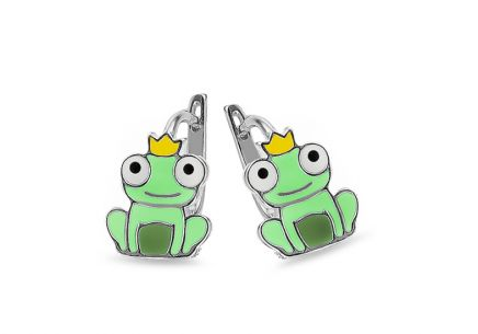 Silver children's frog earrings