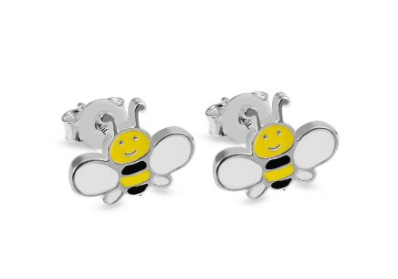 Silver Kids Bee Earrings