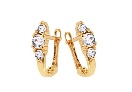 Children's Gold Zircon Earrings