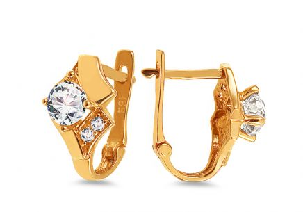 Gold Cubic Zirconia Latch Back Earrings