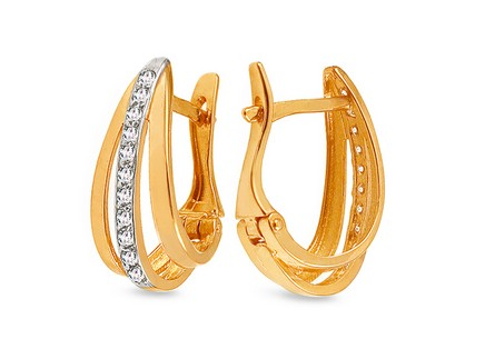 Two tone gold earrings with zircons