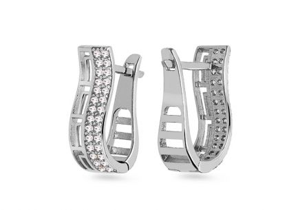 White gold earrings decorated with cubic zirconia