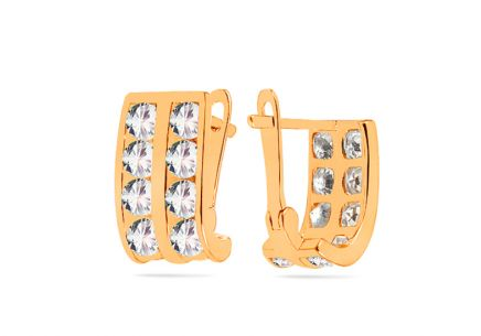 Women's stud rectangle zirconia earrings