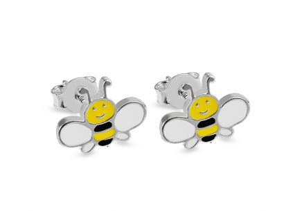 Silver girls Bee stud earrings