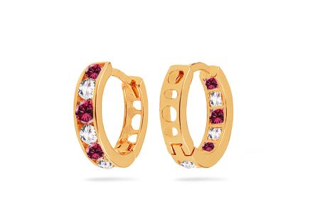 Gold girls hoop earrings with clear and pink stones