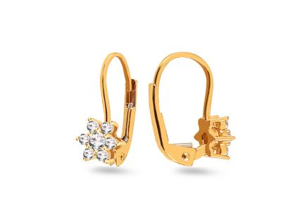Gold girl's earrings of flowers with zircons