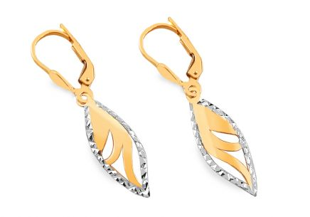 Gold two-tone earrings with pattern