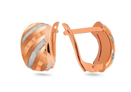 Two-tone rose gold earrings with engraved pattern