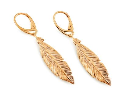 Gold plated silver earrings Feathers