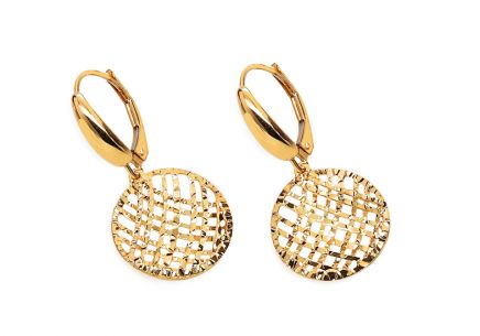 Gold Stud Engraved Earrings