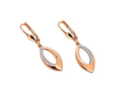 Two-color dangling earrings made of rose gold with zircons