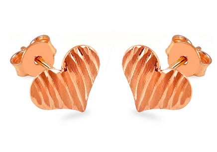 Rose gold Heart stud earrings with engraving