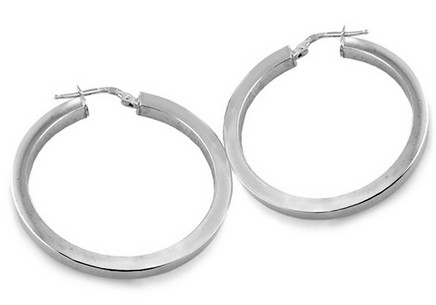 Silver Hoop Earrings White 2