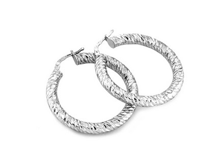 Silver hoop earrings with engraving 3.3 cm