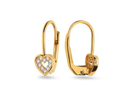 Gold earrings Hearts with zircons